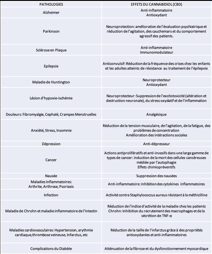 Les effets du Cannabidiol CBD sur différentes pathologies